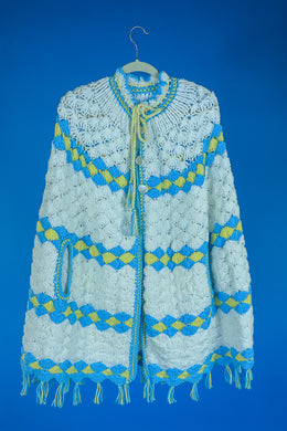 Nina- 1970s Crochet Poncho Sweater
