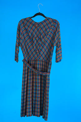Plaid 1950s Belted Dress