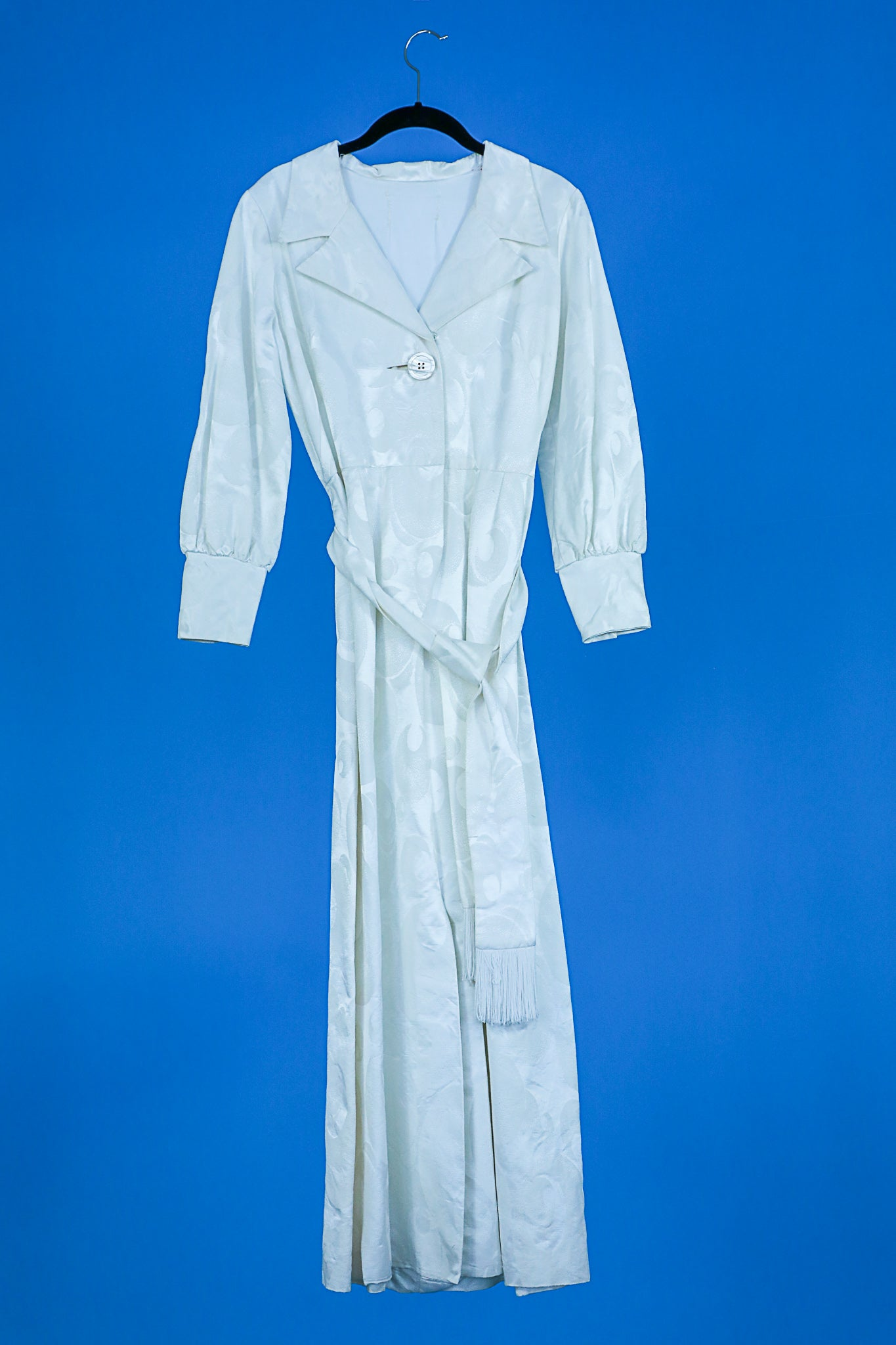 1940s long white hostess gown with sash