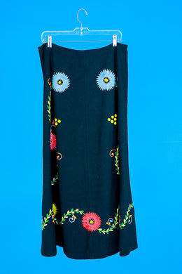 Embroidered 1960s Wool Maxi Skirt