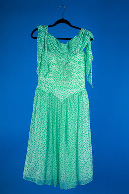 1980s Green Polka dot dress