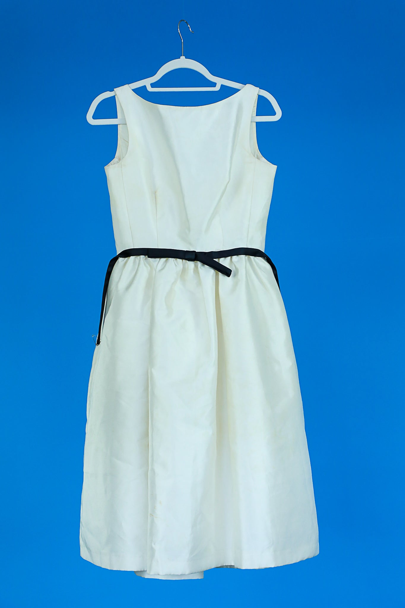 Taylor White Dress with black sash