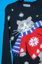 Northern Isles Skating Cat Wool Sweater