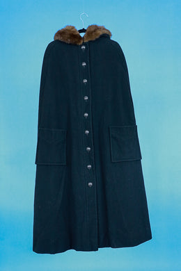 Black Wool Cape with Fur Hoof