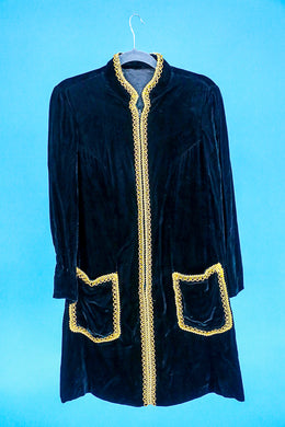 Black Velvet Tunic with Gold Piping
