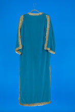 Turquoise Velvet Robe with Gold Trim - M