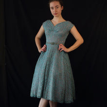 Bella- 1950s Lace Blue XS Vintage Dress