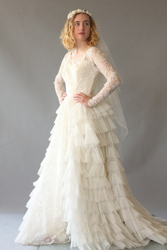 ae854496bf Grace Kelly Gown- 1950s Vintage Ruffle Wedding Dress XS