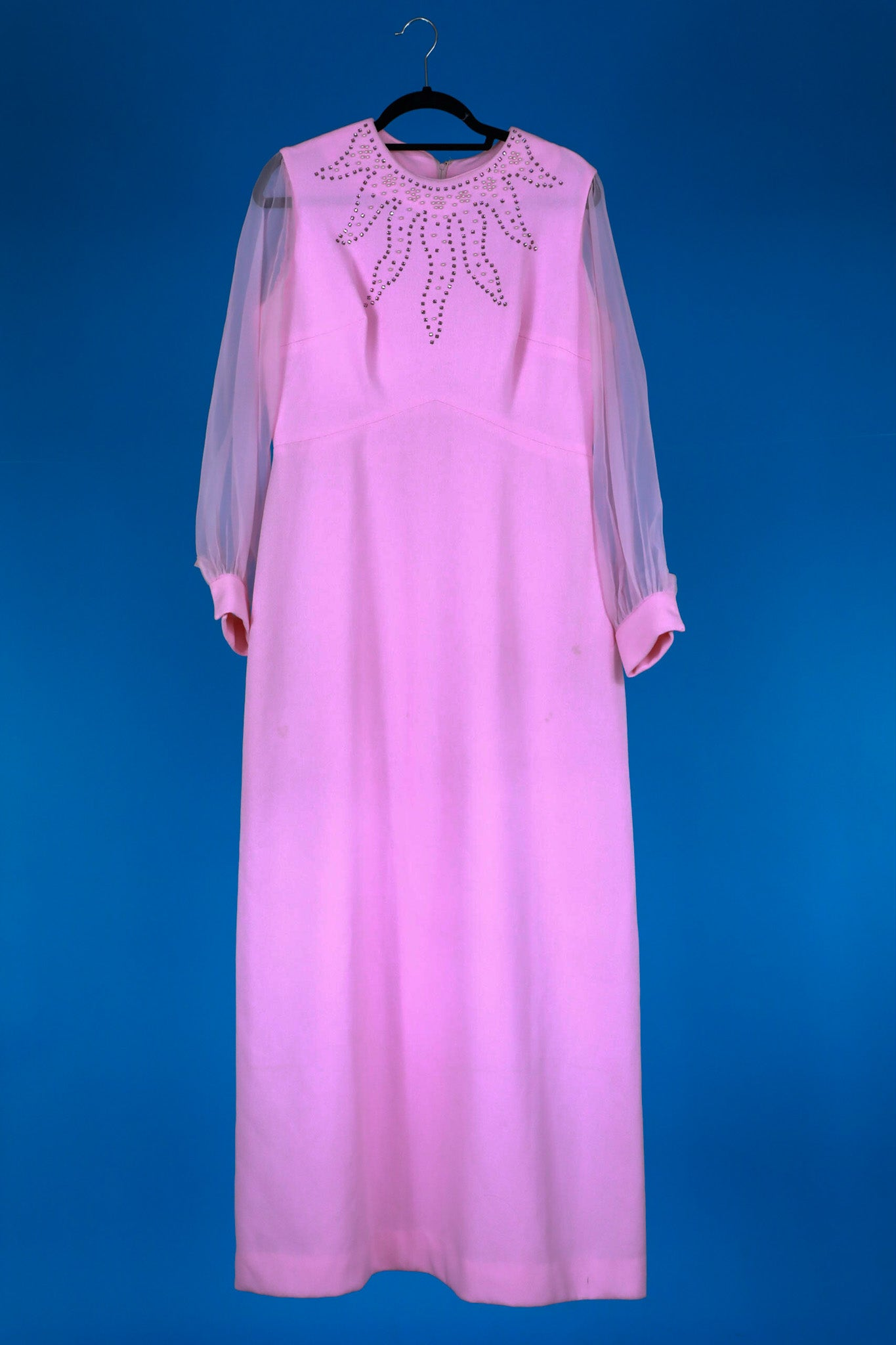 1970s Pink Beaded Gown