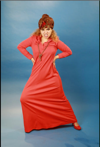 Red 70s Hostess Dress