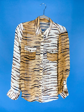 Tiger print sheer blouse