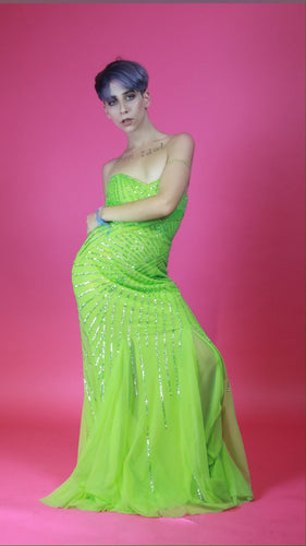 Cache neon green sequin gown