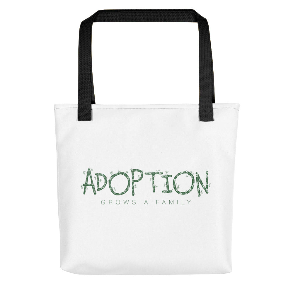 """Adoption Grows a Family"" white Tote with green print"