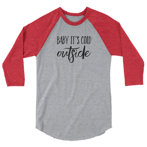 Heather Gray/Heather Red Baby It's Cold Outside ¾ sleeve t-shirt