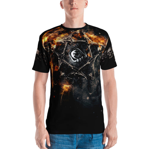 Fire Pentagram 3D Unisex Four-way Stretch Polyester Blend Jersey, XS - 2XL