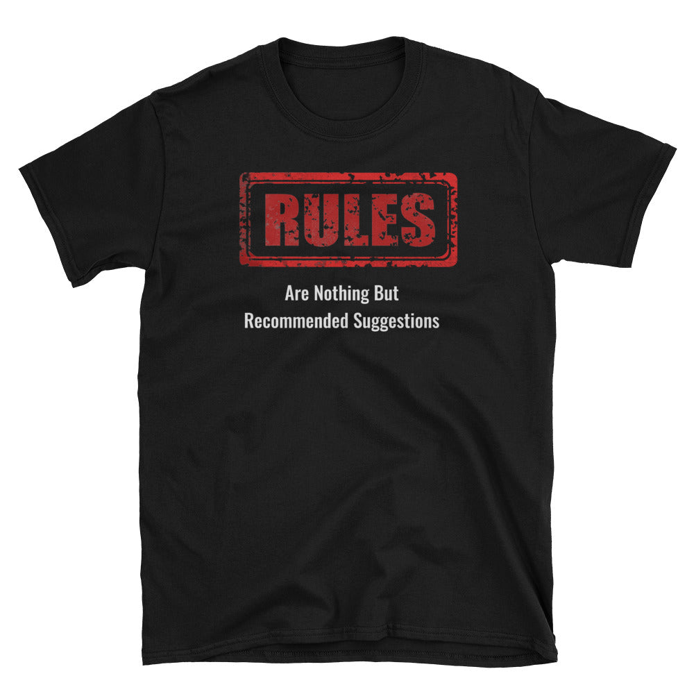 No Rules Unisex 100% Cotton Black/Navy T-Shirt, S-3XL