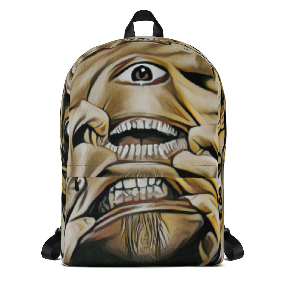 Weird Creepy Faces Weather Resistant Laptop Backpack
