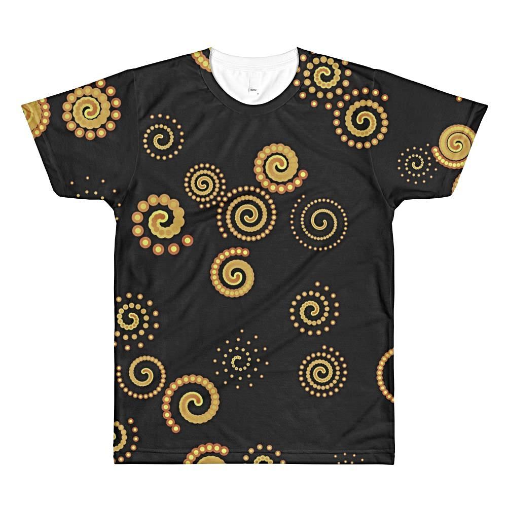 Rave Yellow Spirals Unisex 3D Lightweight Polyester T-Shirt, XS - 2XL