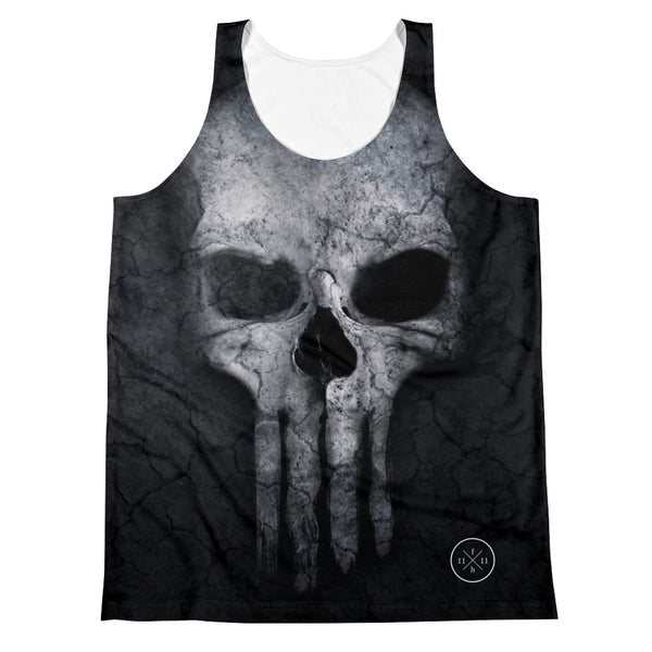 Bad Ass Skull Unisex Relaxed Fit Polyester Tank Top, XS - 2XL