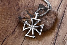Knights Of The Templar Stainless Steel Hollow Maltese Iron Cross Necklace/Pendant