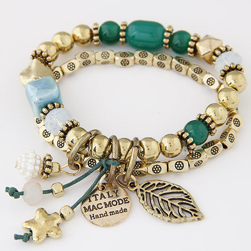 Boho Bangles Golden Beads Italy Hand Made Charm Bracelets In 6 Colors
