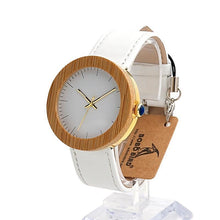 Exquisite Light Women Analog Watch, Bamboo White Leather Band