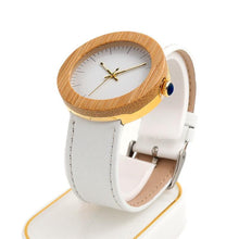 Exquisite Light Bamboo Women Analog Watch, White Leather Band