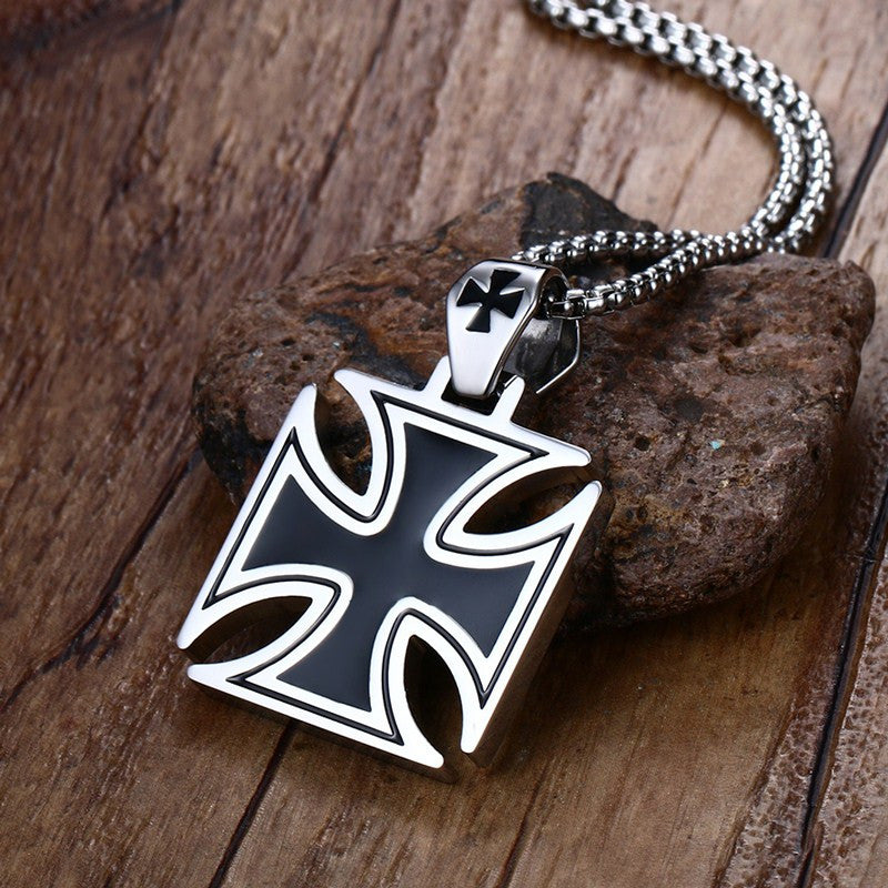 Knights Of The Templar Stainless Steel Maltese Iron Cross Necklace Pendant