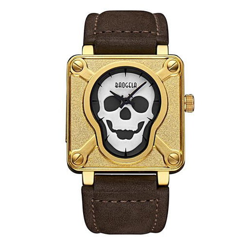 Luminous Pirate Skull Waterproof Watch, Black or Gold
