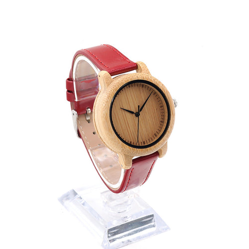 Elegant Bamboo Hand Made Women Watch, Red Leather Band