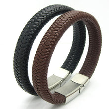 Elegant Black or Brown Leather Knitted Magnetic Clasp Bracelet