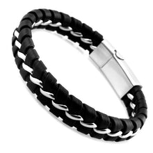 Stainless Steel Leather Laced Men Bracelet
