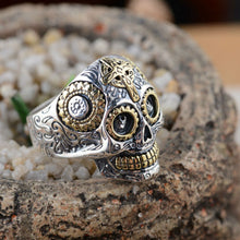 Vintage Skull Sterling 925 Silver Ring, Silver / Gold Accents, Sizes 7.5 - 14 santa muerte