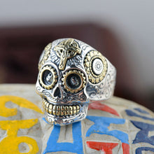Vintage Skull Sterling 925 Silver Ring, Silver / Gold Accents