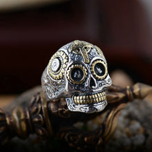 Vintage Skull Sterling 925 Silver Ring, Silver / Gold Accents, Sizes 7.5 - 14