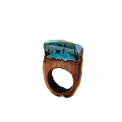 Rose Blooming Secret Forest Wooden Miniature Worlds Ring