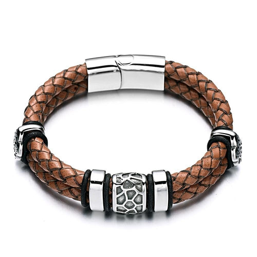 Stainless Steel Cracked Bead Leather Bracelet