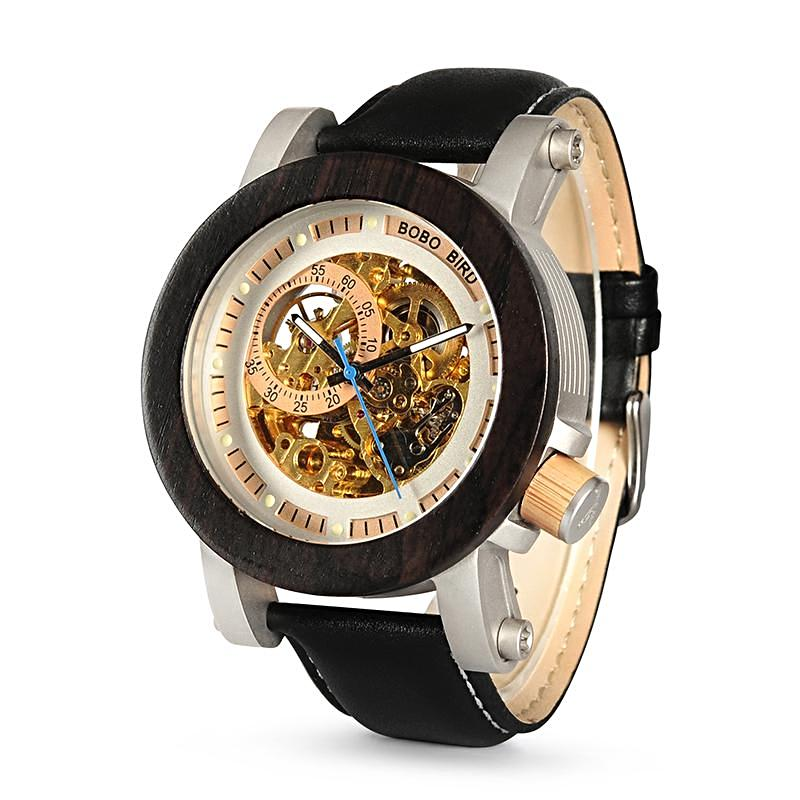 Men Stylish Wooden Bronze Skeleton Steampunk Watch