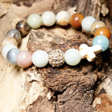 Natural Amazonite Stones Cross Unisex Bracelet - 19 - 10.5 CM