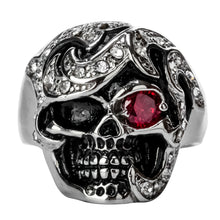 Gothic Mystic Kill Red Eye Skull Stainless Steel Ring