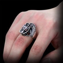 Vintage Ruby Eye Dragon 925 Sterling Silver Ring
