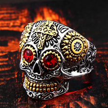 Stainless Steel Gothic Carving Kapala Skull Ring