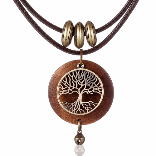 Vintage Tree Of Life Wood Women Pendant