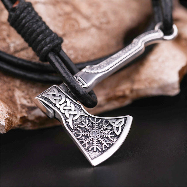 Vintage Viking Axe Leather Wrap Multilayer Bracelet