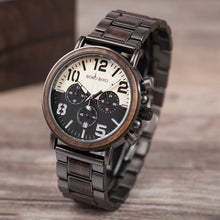 Wood & Black Stainless Steel Watch
