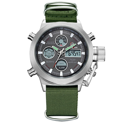 Military Digital/Analog Nylon Strap Waterproof Watch