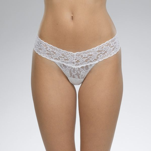Lace Low Rise Thong White