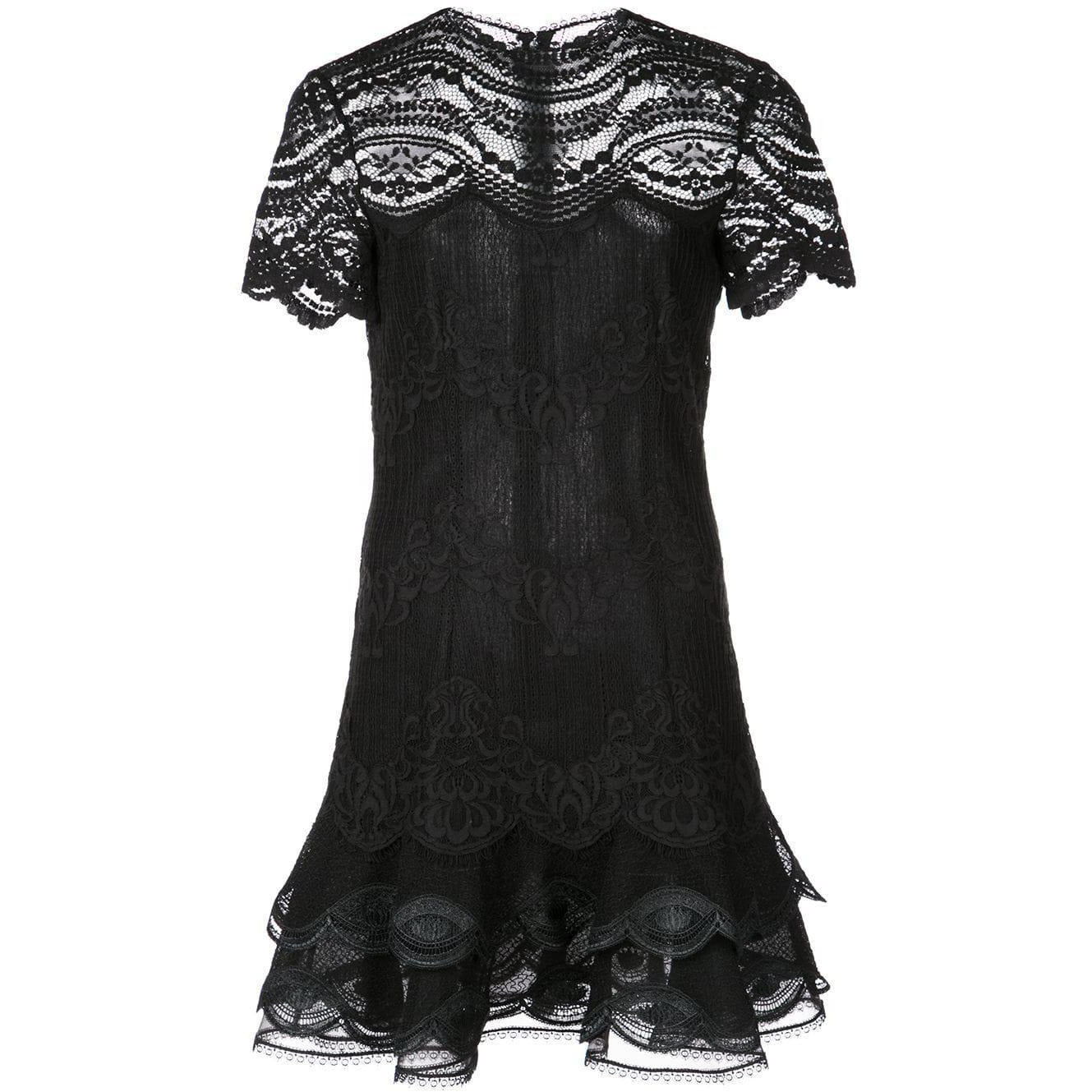 Mixed Lace Cap Sleeve Mini Dress Black