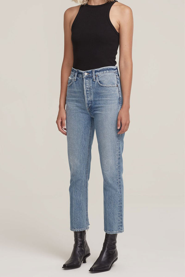 Riley High Rise Straight Crop Jean in Emulsion