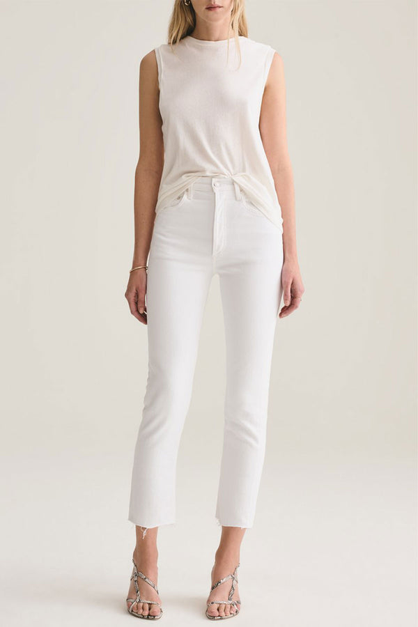 Riley High Rise Straight Crop Jean in Blurred